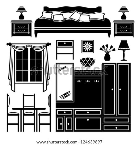 Set of icons of furniture. vector - stock vector
