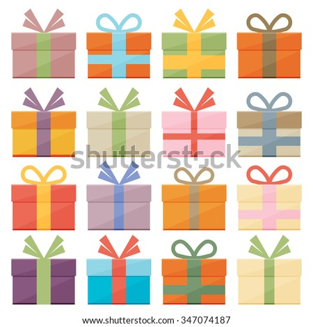 Set of icons of gift boxes - stock vector