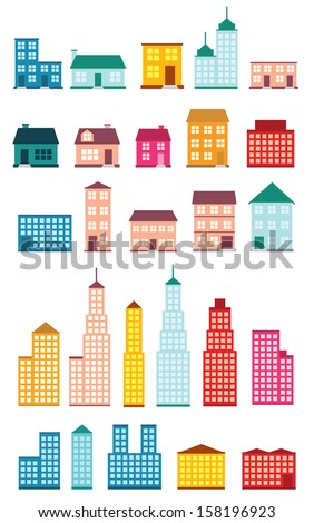 Set of icons of houses. - stock vector