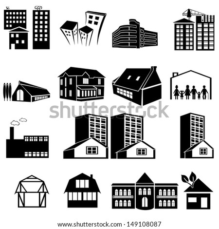 Set of icons of houses. A vector illustration - stock vector