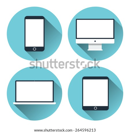 Set of icons of modern electronic devices. Desktop computer, tablet, laptop and mobile phone. Flat design vector illustration - stock vector