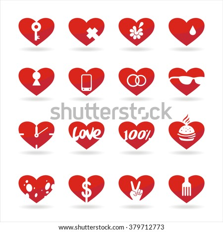 set of icons of red hearts with white background and shadow - stock vector