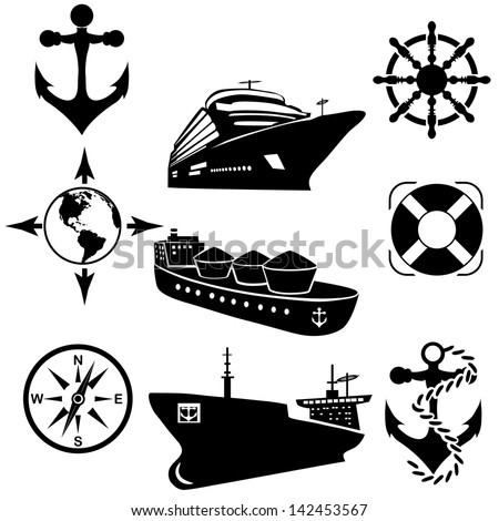 Set of icons of the ships. A vector illustration - stock vector