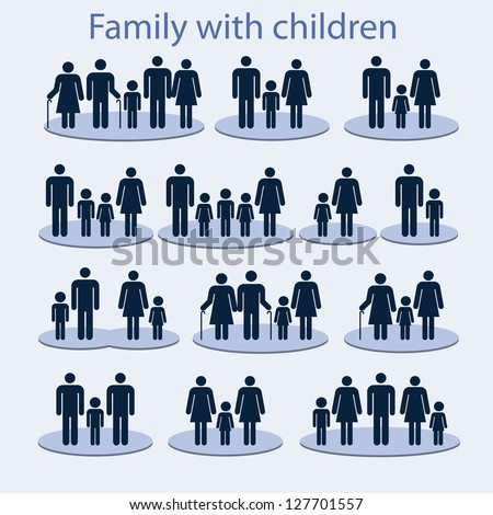 Set of icons on a family with a child. - stock vector