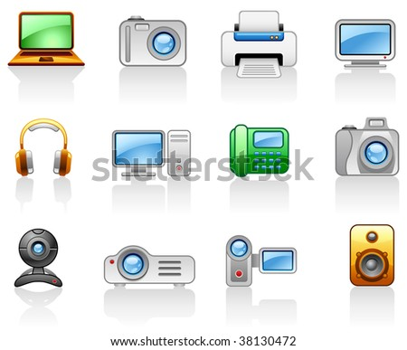 Set of icons on a theme Electronics_Computers_ Multimedia - stock vector