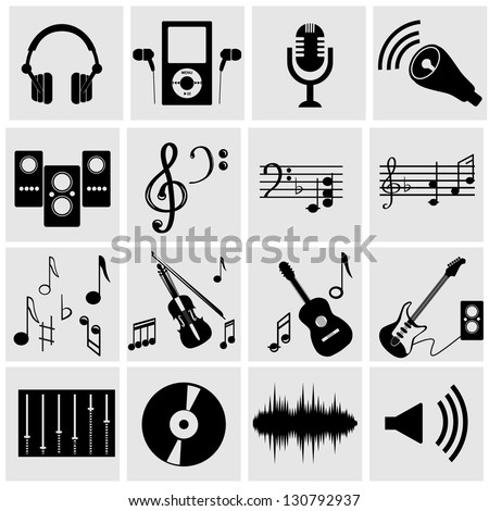 Set of icons on a theme music. A vector illustration - stock vector