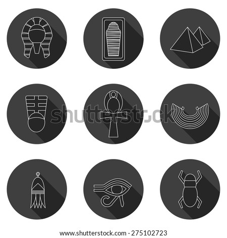 Set of icons on ancient Egypt theme for your design - stock vector