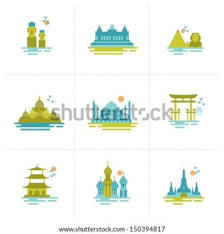 set of icons on the topic of travel. Group of famous international landmarks.  - stock vector