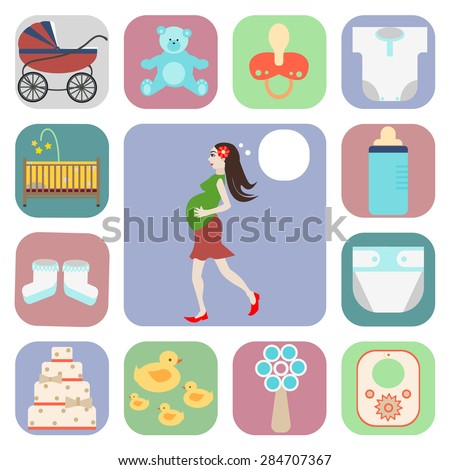 set of icons, pregnant, and things for a newborn - stock vector