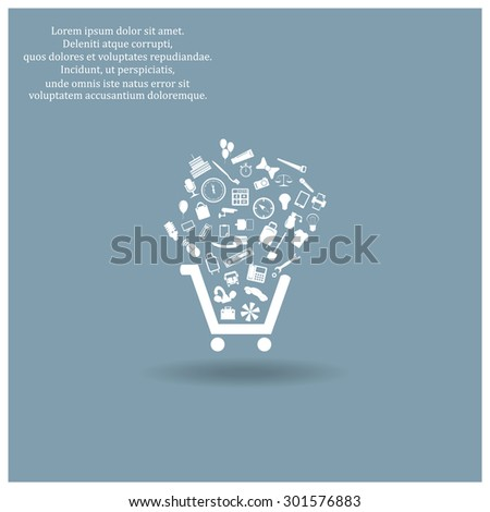 Set of icons. Put into shopping cart. Great buy. Cart of goods. Supermarket. icon. vector design - stock vector