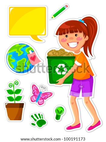 set of icons related to ecology and a girl recycling paper - stock vector