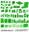 set of icons related to supermarkets and shopping - stock vector
