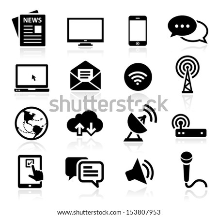 Set of icons representing media and broadcasting - stock vector