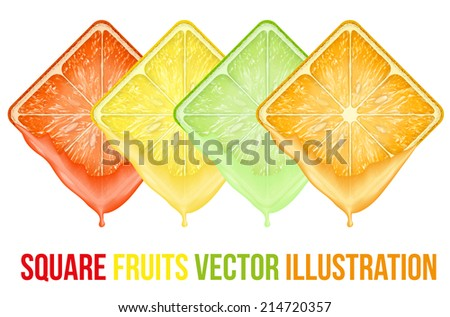 Set of icons Square fruits slices with fresh juice. Vector Illustration. Isolated on white background. - stock vector