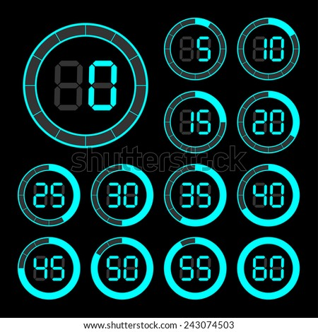 Set of icons stopwatch. The vector illustration. - stock vector