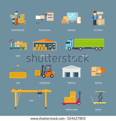 Set of icons transport logistics concept. Warehouse and production, stackers and trolley, scanner barcode, guaranteed and loading, crane and logistic illustration - stock vector