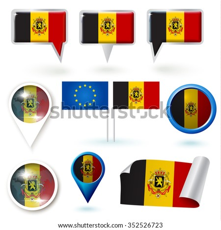 Set of icons with Belgium flag theme - stock vector