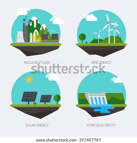 Set of icons with different types of electricity generation. Landscape and industrial factory buildings concept. Vector flat  infographic. - stock vector