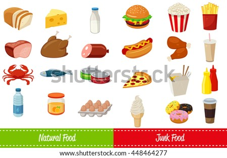 Set of icons with food and drinks for restaurant or commercial. Fast food icons. Food and Drinks icons. Vector illustration - stock vector