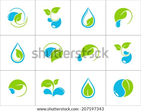 Set of icons with green leaves and water drops for ecological and organic design - stock vector