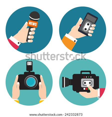 Set of icons with hands holding voice recorders, microphones, camera. Voice recorder vector. Live news. Press illustration. - stock vector