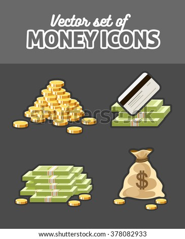 Set of icons with money cash coins sack and bank card vector illustration - stock vector
