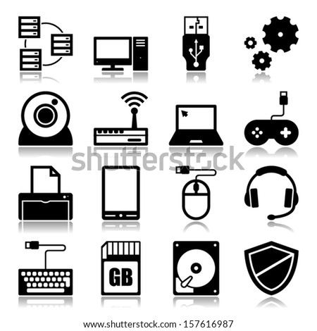 Set of icons with reflection about computer and technology concept - stock vector