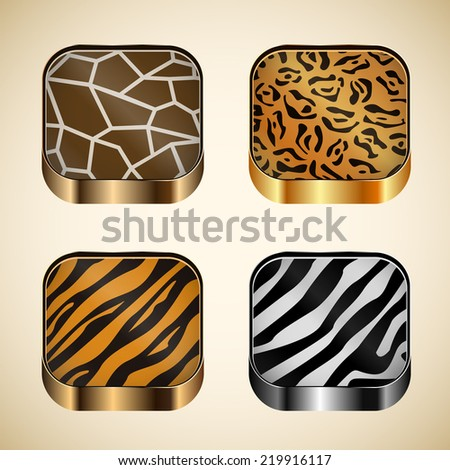 Set of icons with wild animal skin on the background. - stock vector