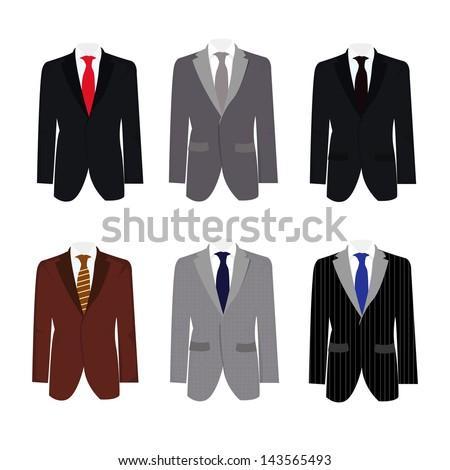 Set of 6 illustration handsome business suit - stock vector
