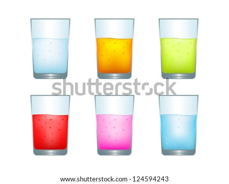 Set of illustrations of different drinks isolated on white - stock vector