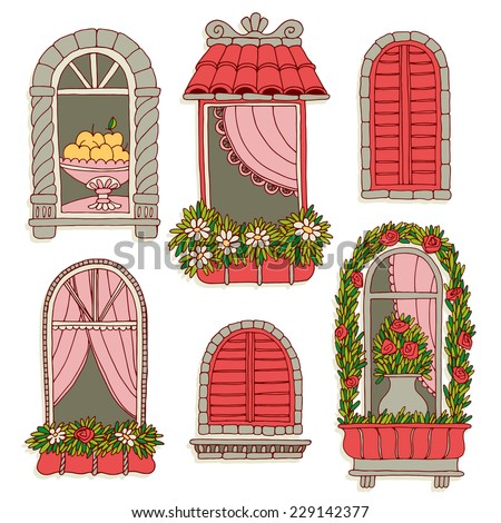 set of illustrations with a vintage windows - stock vector