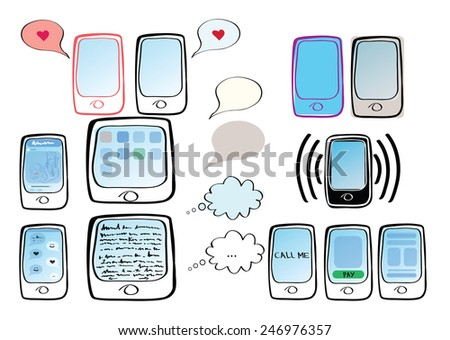 Set of illustrations with phone, messages, love notes, chatting, tablets, icons - stock vector