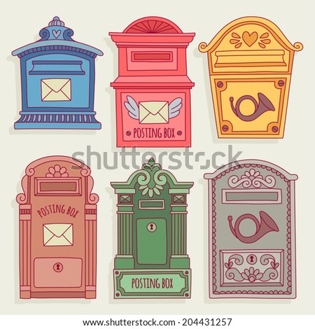 set of illustrations with vintage mailboxes. - stock vector