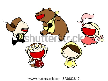 Set of images of funny kids #78, Russian stereotypes theme - stock vector