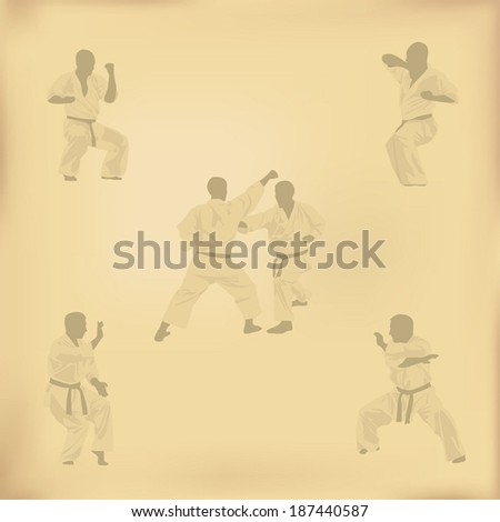 Set of images of karate on old paper - stock vector