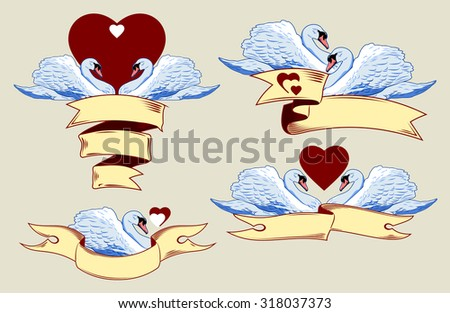 set of images of swans with hearts and ribbons - stock vector