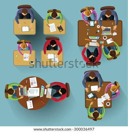 Set of images. People siting from the table top view. - stock vector