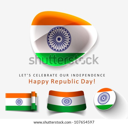 Set of Indian flag icon design. - stock vector