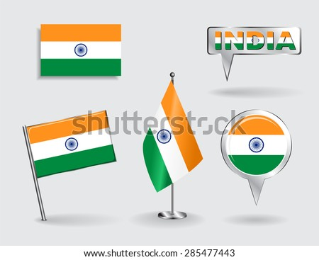 Set of Indian pin, icon and map pointer flags. Vector illustration. - stock vector
