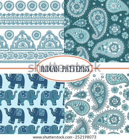 Set of indian seamless patterns. It can be used for wallpaper, pattern fills, web page background, surface textures.  - stock vector