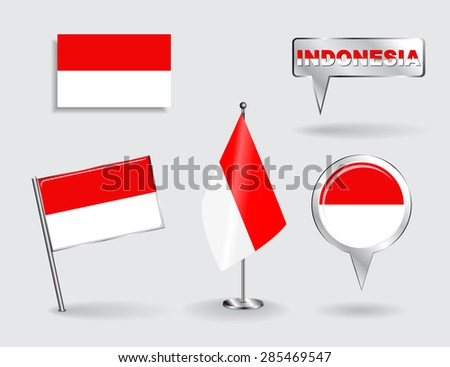 Set of Indonesian pin, icon and map pointer flags. Vector illustration. - stock vector