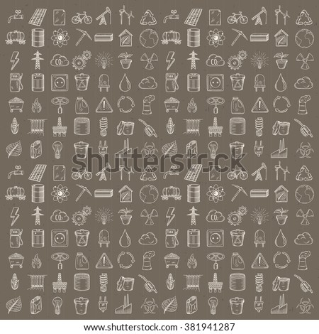 Set of industrial and ecology icons. Hand drawn vector illustration. - stock vector