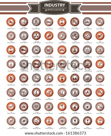 Set Of Industrial Icons,Retro Style,vector - stock vector