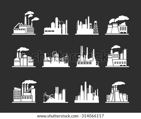 Set of industry manufactory building icons. Plant and factory, power and smoke, oil and energy, nuclear manufacturing station. Vector illustration - stock vector