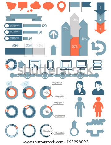 Set of infographic elements and icons - stock vector