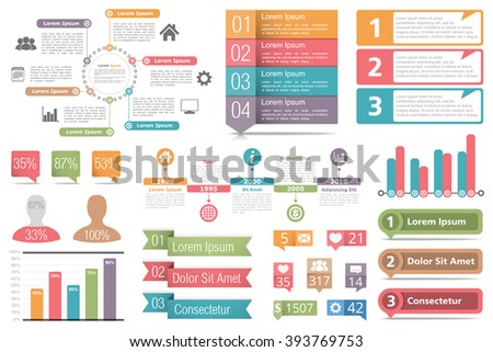 Set of infographic elements - circle diagram, bar graphs, objects with numbers and percents, timeline, buttons, vector eps10 illustration - stock vector