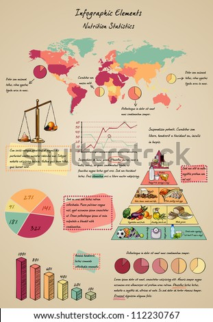 Set of infographic elements with food, nutrition, world map and healthy eating pyramid in doodle style. Colorful vector illustration. Easy to edit. - stock vector
