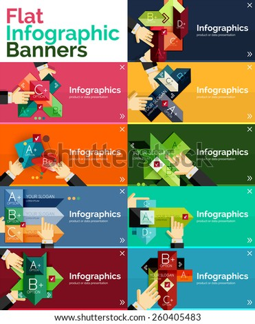 Set of infographic flat design banner with hands showing the product or data - stock vector