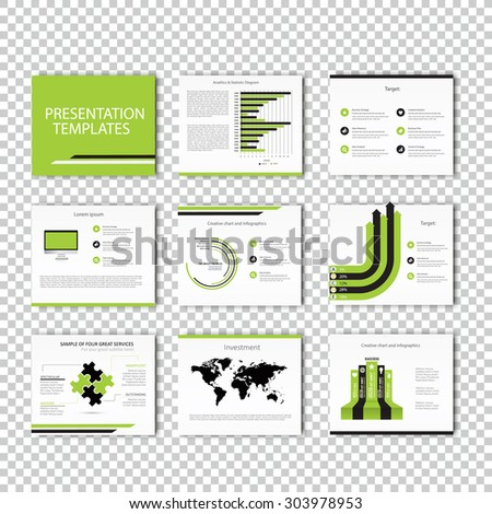 Set of infographic Presentation Template , Infographic Element , Business infographic , Layout design , Modern Style , Vector design illustration. Green version - stock vector