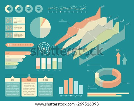 Set Of Infographics Elements. Flat Style Vector Illustration - stock vector